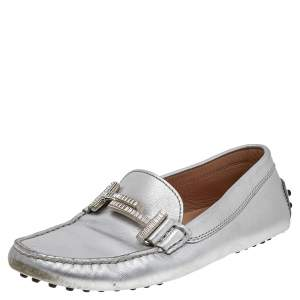 Tod's Silver Leather Slip on Loafers Size 36