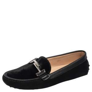 Tod's Black Suede and Velvet Double T Slip On Loafers Size 39.5