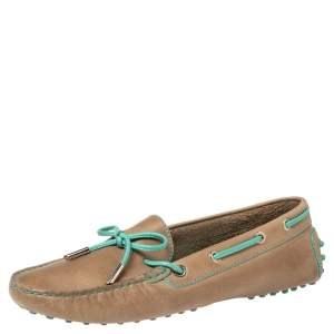 Tod's Light Brown/Turquoise Leather Bow Loafers Size 39