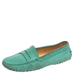 Tod's Green Suede Limited Edition Penny Loafers Size 38.5