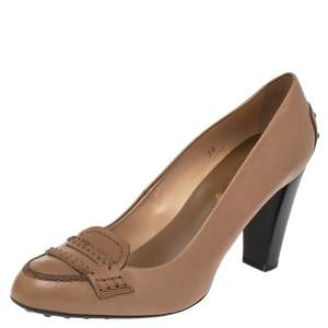 Tod's Brown Leather Loafer Pumps Size 39