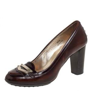 Tod's Brown Leather Loafer Pumps Size 37.5