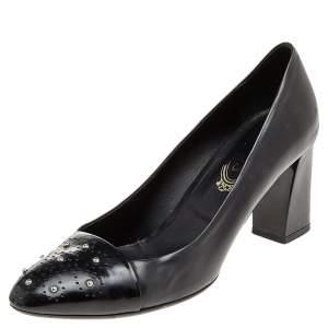 Tod's Black Leather Embellished Block Heel Pumps Size 38