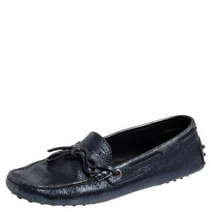 Tod's Metallic Blue Leather Gommino Slip On Loafers Size 38