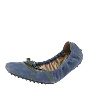 Tod's Blue Suede And Patent Leather Bow Scrunch Ballet Flats Size 37