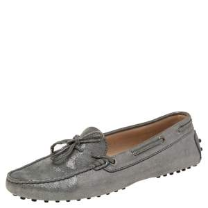 Tod's Grey Suede Gommini Slip On Loafers Size 39.5
