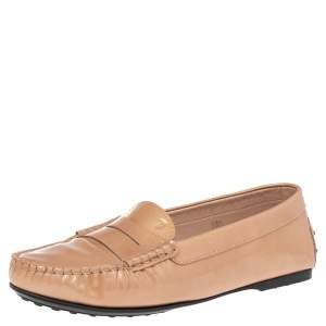 Tod's Beige Textured Patent Leather Penny Slip On Loafers Size 38.5