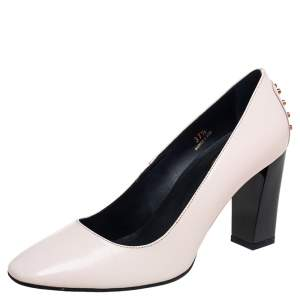 Tod's Cream Patent Leather Studded Block Heel Pumps Size 37.5