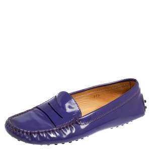 Tod's Purple Patent Leather Gommini Penny Loafers Size 37.5