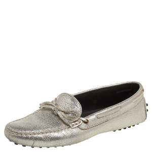 Tod's Gold Crinkled Leather Bow Driving Loafers Size 38