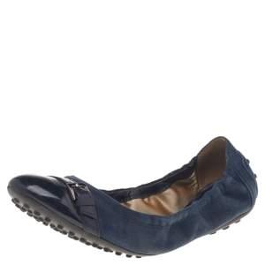 حذاء باليرينا فلات تودز سكرانش سويدي وجلد لامع أزرق/أسود مقدمة غطاء مقاس 38.5