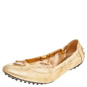 Tod's Metallic Gold Textured Suede Bow Scrunch Ballet Flats Size 38.5