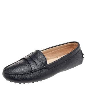 Tod's Black Leather Penny Slip On Loafers Size 36