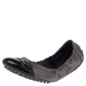 Tod's Metallic Black Textured Leather Cap Toe Scrunch Ballet Flats Size 38.5