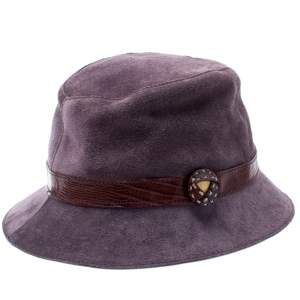 Tods Purple Suede and Lizard Trim Bowler Hat