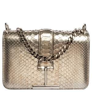 Tom Ford Silver Python Tara Chain Shoulder Bag