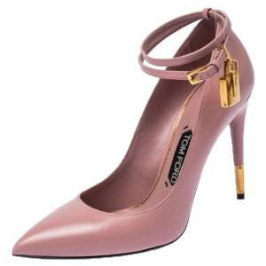 Tom Ford Pink Leather Ankle Lock Pointed Toe Pumps Size 39.5