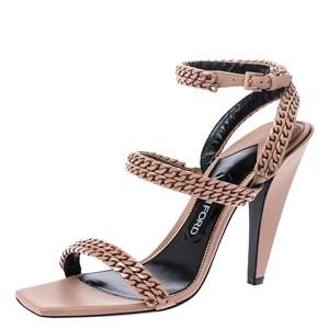Tom Ford Beige Leather Chain Embellished Ankle Strap Open Toe Sandals Size 39.5