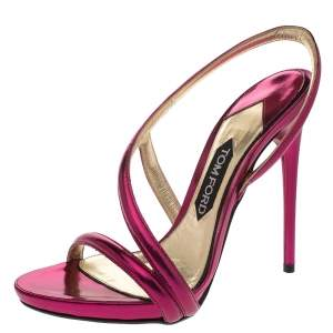 Tom Ford Metallic Pink Leather Slingback Sandals Size 38.5
