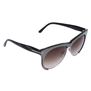 Tom Ford Ice Grey / Brown Gradient TF 365 Leona Cat Eye Sunglasses