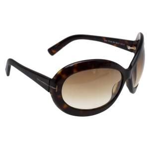 Tom Ford Dark Havana/ Brown Gradient TF428 Edie Oval Sunglasses