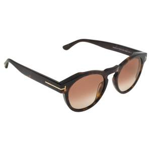 Tom Ford Havana Brown/Brown Gradient FT615 Margaux-02 Round Sunglasses