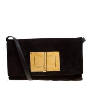 Tom Ford Dark Brown Nubuck leather Natalia Convertible Clutch