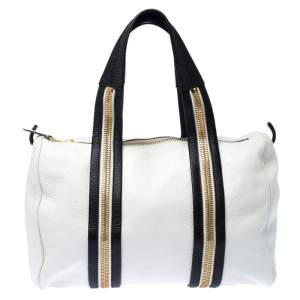 Tom Ford White/Dark Brown Leather Boston Bag