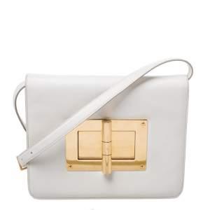 Tom Ford Cream Leather Large Natalia Shoulder Bag