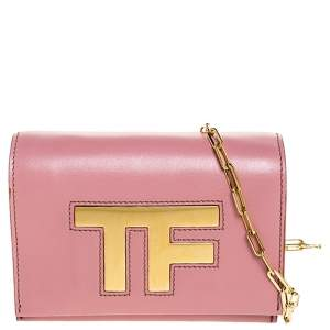 Tom Ford Pink Leather TF Small Chain Crossbody Bag