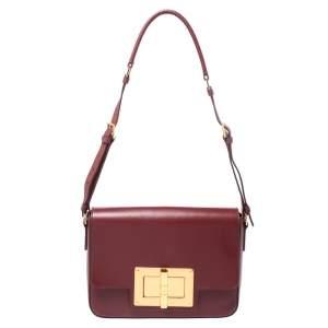 Tom Ford Red Leather Medium Natalia Day Shoulder Bag