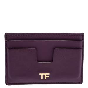 Tom Ford Purple Leather T Bar Card Holder