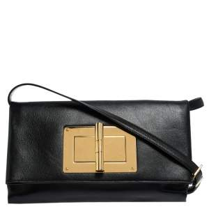 Tom Ford Black Leather Natalia Convertible Clutch