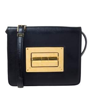 Tom Ford Black Leather Large Natalia Shoulder Bag