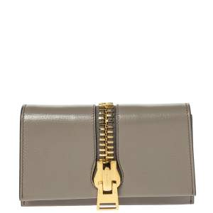 Tom Ford Beige Small Zip Front Leather Clutch
