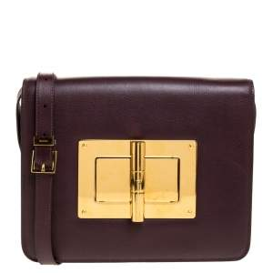 Tom Ford Burgundy Leather Large Natalia Shoulder Bag