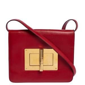 Tom Ford Red Leather Large Natalia Shoulder Bag