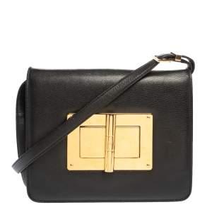 """حقيبة كتف توم فورد """"ناتاليا"""" كبيرة جلد أسود"""