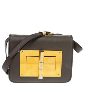 Tom Ford Khaki Leather Small Natalia Crossbody Bag