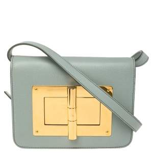 Tom Ford Mint Green Leather Small Natalia Crossbody Bag
