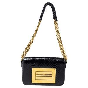 Tom Ford Black Python Natalia Shoulder Bag