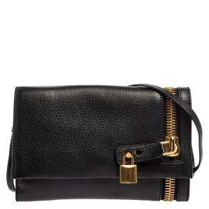 Tom Ford Black Grained Leather Small Alix Zip and Padlock Shoulder Bag