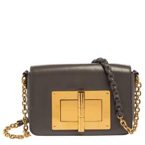 Tom Ford Grey Leather Small Chain Natalia Shoulder Bag