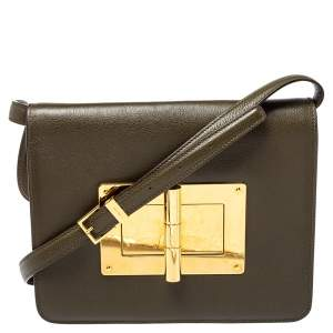 Tom Ford Olive Green Leather Large Natalia Shoulder Bag