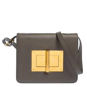 Tom Ford Grey Leather Medium Natalia Shoulder Bag