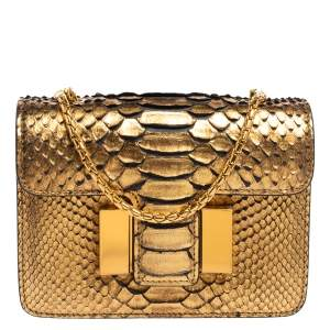 Tom Ford Metallic Gold Python Mini Sienna Chain Shoulder Bag