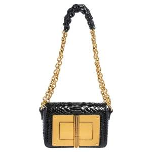 Tom Ford Black Python Mini Natalia Chain Crossbody Bag