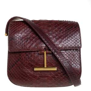 Tom Ford Burgundy Python Mini Tara Crossbody Bag