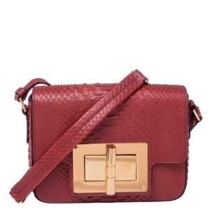Tom Ford Burgundy Python Small Natalia Crossbody Bag