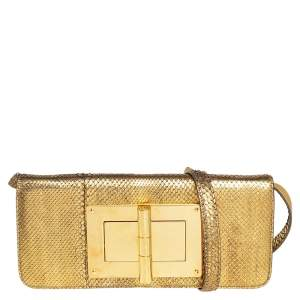 Tom Ford Metallic Gold Python Natalia Convertible Clutch